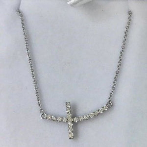 Necklaces $699.99 1 Inch Diamond Sideways Curved Cross On A Chain - 14K White Gold 14K Cross