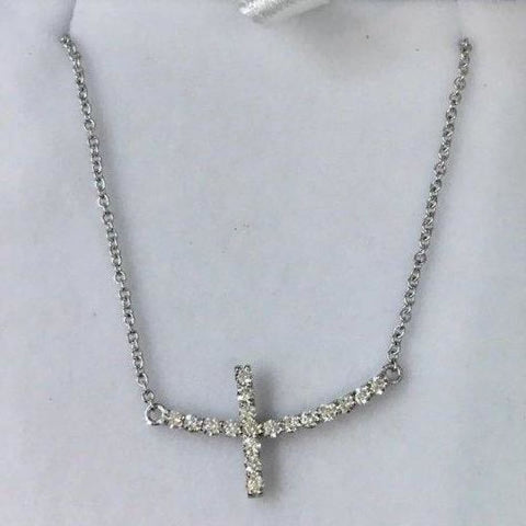 Image of Necklaces $699.99 1 Inch Diamond Sideways Curved Cross On A Chain - 14K White Gold 14K Cross