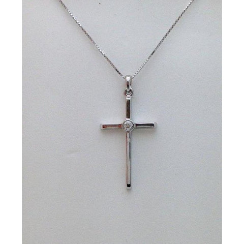 Image of Necklaces $499.00 14K White Gold Bezel Diamond Solitaire Cross Pendant