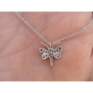 18K White Gold Diamond Pave Butterfly Pendant Necklace