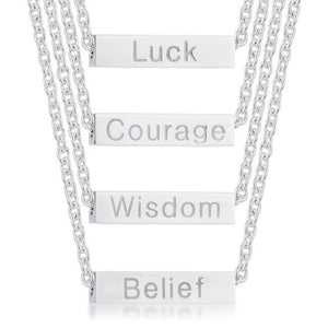 Necklaces $28.75 4 in 1 Luck Courage Wisdom Belief Rotating Rhodium Stainless Steel Bar Script Necklace 25-50 abc lucky necklaces steel