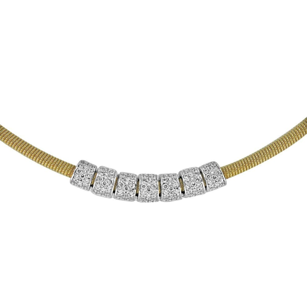 Necklaces $492.00 7 Bead Mesh Necklace - Pave Set Cubic Zirconia (14K Yellow Gold) Formal Occasion Mesh