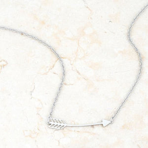 Arianna Rhodium Stainless Steel Arrow Minimalist Layering Necklace
