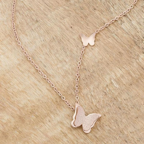 Image of Necklaces $32.50 Beatrice Rose Gold Stainless Steel Delicate Butterfly Necklace 25-50 necklaces steel