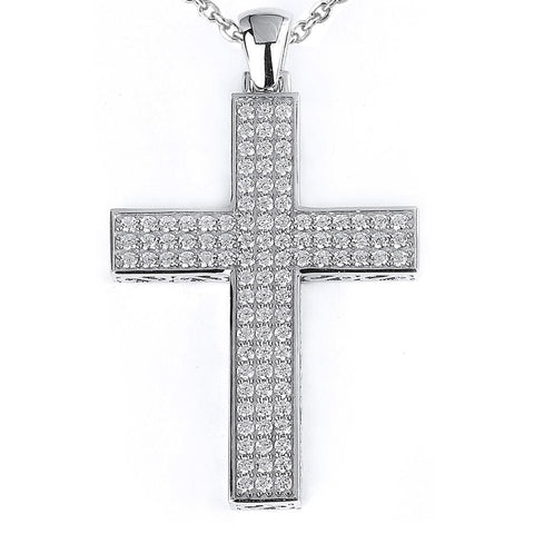 Image of Necklaces $204.00 Big 3 Row Cross Cz Pendant On A Chain (14K Rose Gold) Big Pendants