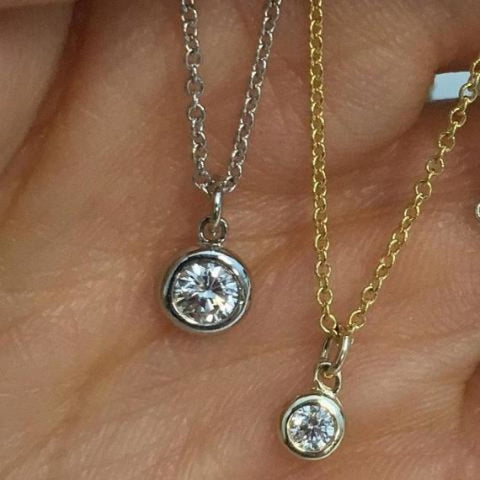 Image of Necklaces $399.00 Dainty Minimalist Bezel Set Diamond On A Chain Vs2 F Dangling Free Slide Pendant 14K Italian Gold Chain Bezel Rg Yg