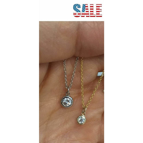 Necklaces $399.00 Dainty Minimalist Bezel Set Diamond On A Chain Vs2 F Dangling Free Slide Pendant 14K Italian Gold Chain Bezel Rg Yg