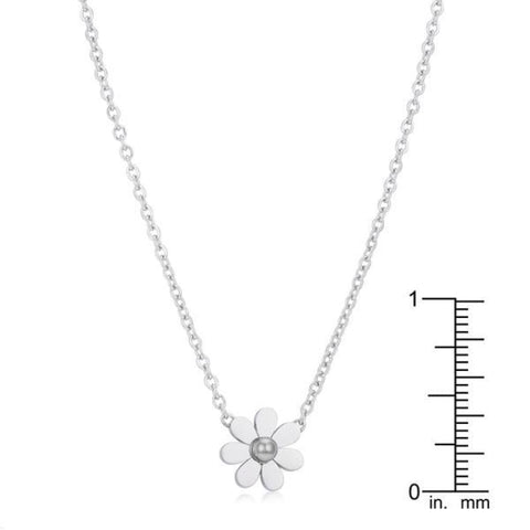 Image of Necklaces $23.75 Daisy Rhodium Delicate White Floral Necklace floral necklaces pearl steel under-25