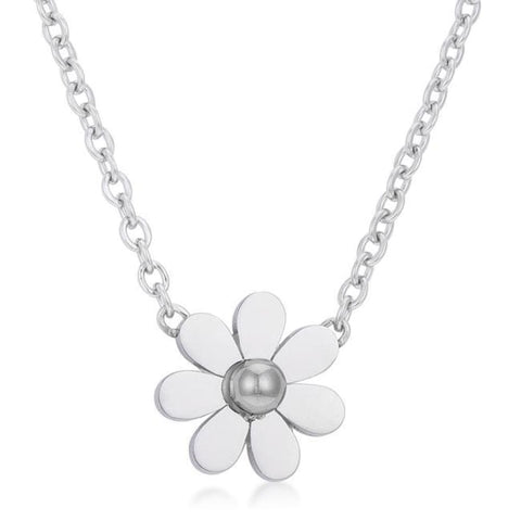 Image of Necklaces $23.75 Daisy Rhodium Delicate White Floral Necklace necklaces steel under-25