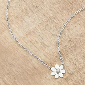 Daisy Rhodium Delicate White Floral Necklace