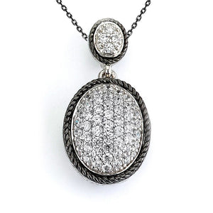 Double Oval Pendant with Micro Pave Cubic Zirconia