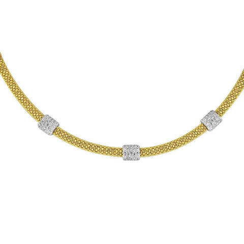 Necklaces $500.00 Italian Mesh Necklace With 3 Cubic Zirconia Beads - 4Mm Chain Big Formal Occasion Mesh