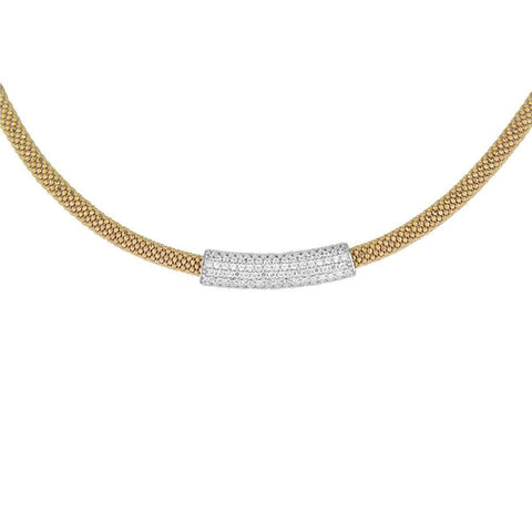 Necklaces $436.00 Italian Mesh Necklace With Silver Rhodium Cubic Zirconia Bar Pendant (14K Yellow Gold) Formal Occasion Mesh Pendants
