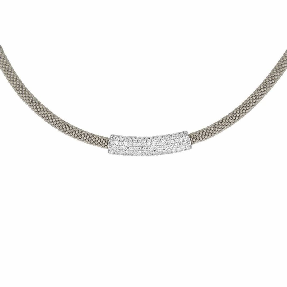 Necklaces $436.00 Italian Mesh Necklace With Silver Rhodium Cubic Zirconia Bar Pendant (Black Rhodium) Formal Occasion Mesh Pendants