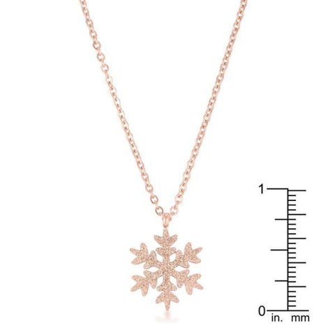 Image of Necklaces $30.00 Jenna Rose Gold Stainless Steel Rose Gold Snowflake Necklace 25-50 necklaces rg steel