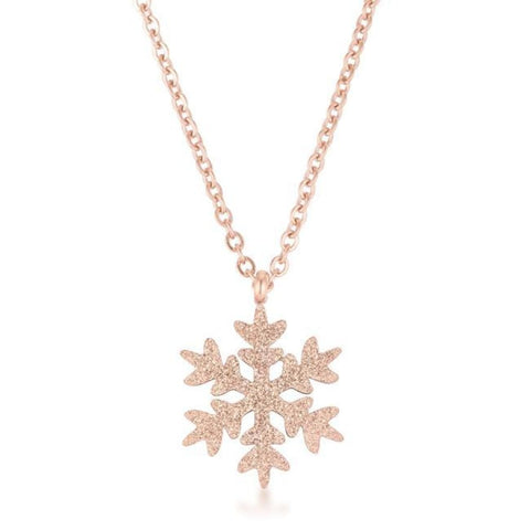 Necklaces $30.00 Jenna Rose Gold Stainless Steel Rose Gold Snowflake Necklace 25-50 necklaces steel