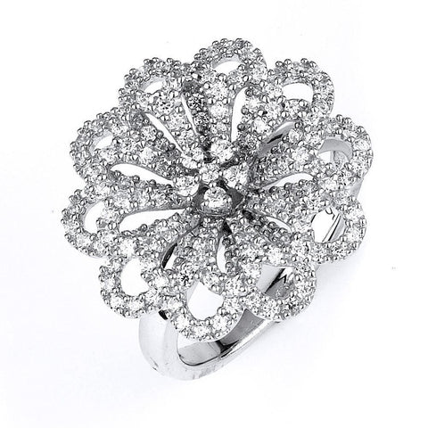 Image of Necklaces $224.00 Micro Pave Cz Flower Pendant On A Chain Big Formal Occasion Pendants