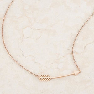 Minimalist Rose Gold Stainless Steel Arrow Coachella Bohemian Necklace