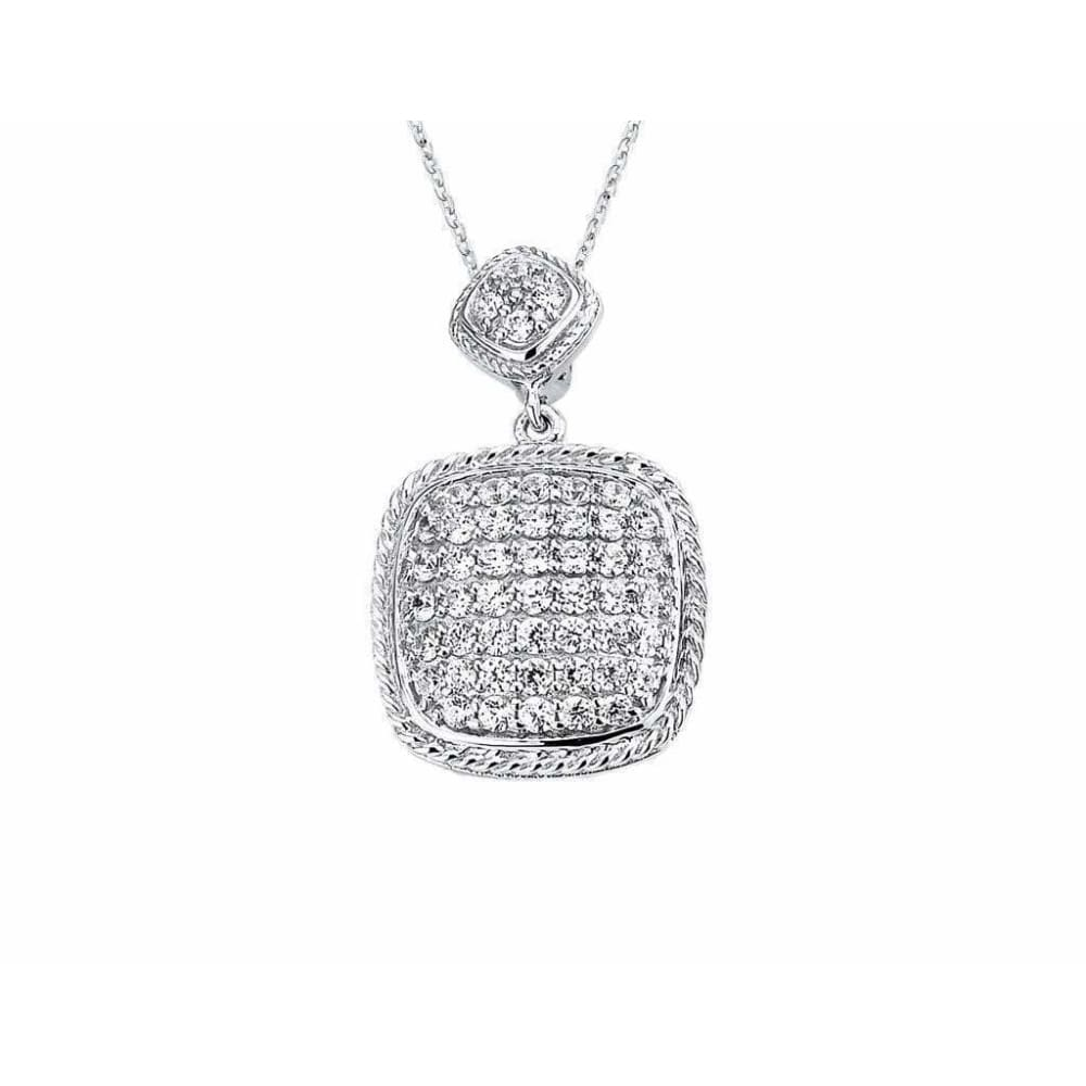Necklaces $172.00 Pave Set Cushion Shaped Cubic Zirconia Pendant (14K Rose Gold) Big Formal Occasion Pendants