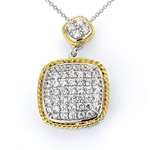 Image of Necklaces $172.00 Pave Set Cushion Shaped Cubic Zirconia Pendant (14K Yellow Gold) Big Formal Occasion Pendants