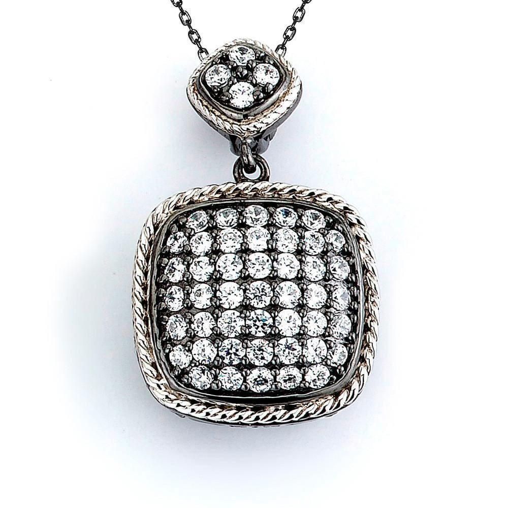 Necklaces $172.00 Pave Set Cushion Shaped Cubic Zirconia Pendant (14K Yellow Gold) Big Formal Occasion Pendants