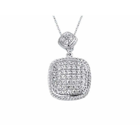 Necklaces $172.00 Pave Set Cushion Shaped Cubic Zirconia Pendant (Black Rhodium) Big Formal Occasion Pendants