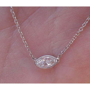 Necklaces $518 Petite 0.25 Carat Marquise Diamond Bezel Necklace 14K White Gold