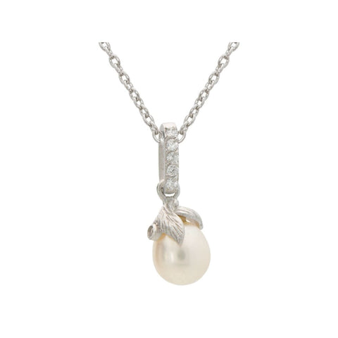 Necklaces $63.00 Rice Pearl With Cubic Zirconia Flower Necklace Cz Feminine Floral Pearl Rhodium
