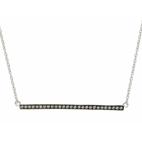 Necklaces $64.99 Sideways Silver And Charcoal Bar Pendant Cubic Zirconia Stone Adjustable Layering Necklace Cz Rhodium
