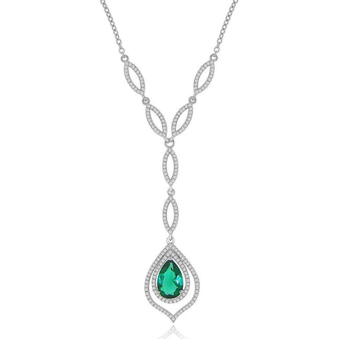 Image of Necklaces $192.00 Simulated Pear Shaped Blue Topaz And Cz Formal Occasion Statement Necklace Big Colored Stones Formal Occasion