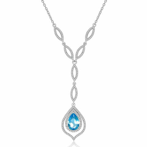 Necklaces $192.00 Simulated Pear Shaped Blue Topaz And Cz Formal Occasion Statement Necklace Big Colored Stones Formal Occasion