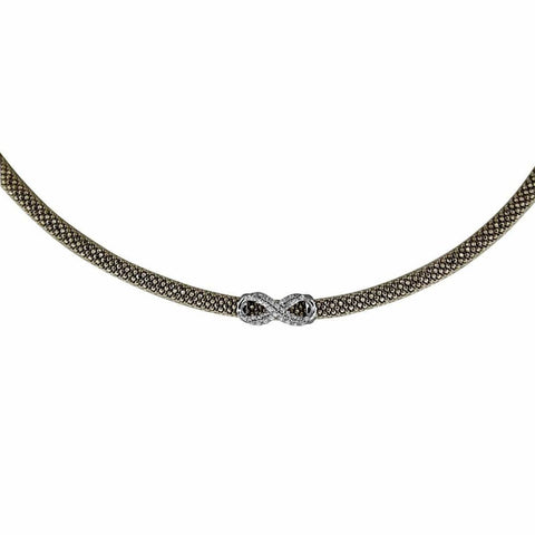 Necklaces $316.00 Small Cz Infinity Pendant On Italian Mesh Necklace (Black Rhodium) Formal Occasion Mesh