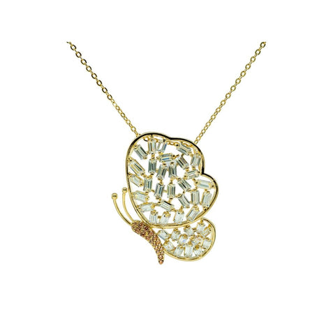 Necklaces $73.00 Sparkling Baguette Golden Butterfly Necklace Animal Baguette Yg