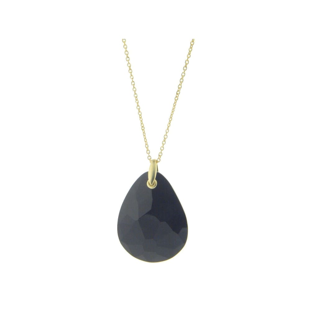 Necklaces $76.99 Statement Black Crystal Pendant Necklace (Gold Plated) Black Colored Stones