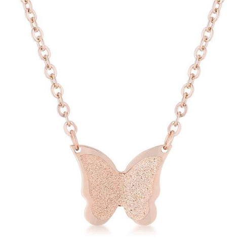 Image of Necklaces $28.75 Textured Butterfly on a Chain in Rose Gold Stainless Steel Necklace 25-50 animal necklaces rg steel
