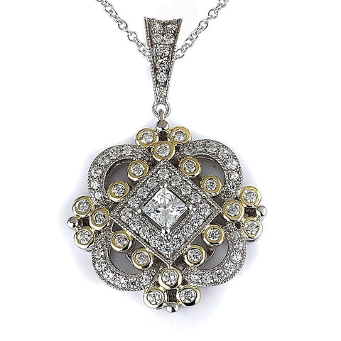 Necklaces $196.00 Vintage Antique Cubic Zirconia Pendant (14K Yellow Gold) Big Formal Occasion Pendants Vintage