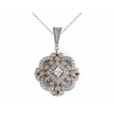 Image of Necklaces $196.00 Vintage Antique Multi Cubic Zirconia Drop Pendant (Black Rhodium) Big Formal Occasion Pendants Vintage
