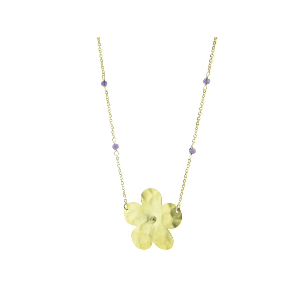 Necklaces $85.00 Yellow Gold Plated Hammered Flower & Amethyst Necklace Chain Colored Stones Cz Floral Purple