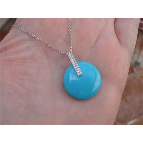 Pendants $414 Round Turquoise Disc Pendant with Diamond Bail 14k White Gold 400-500, pendants
