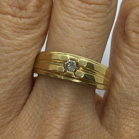 Image of Rings $399.99 0.19 Diamond Solitaire Band - 14K Yellow Gold Signet Ring Band Solitaire Yg