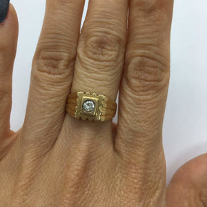 0.20 Carat Diamond Solitaire Statement Ring in 14K Yellow Gold