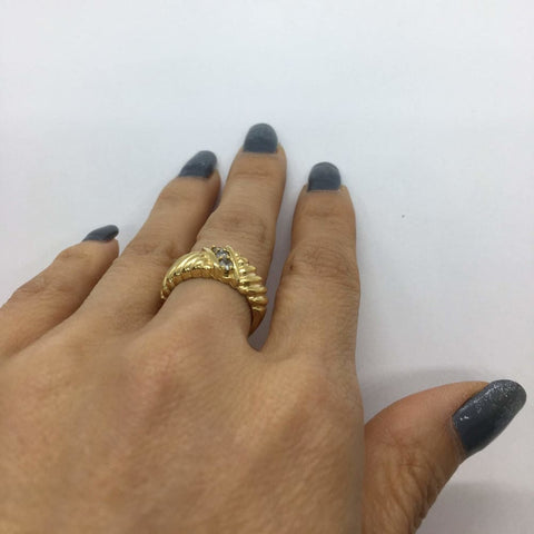 Image of Rings $399.99 0.20 Ctw Diamond Statement Ring In 14K Yellow Gold Yg