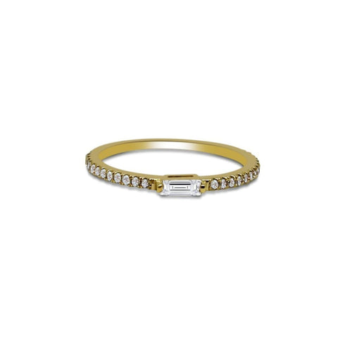 Image of Rings $499.00 0.27 Cttw Single Tapered Baguette Diamond Ring On Pave Diamond Band - 14K Diamond Stacking Ring