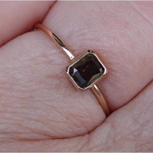 0.45 Carat Brown Diamond Bezel Set in 14K Rose Gold Minimalist Stacking or Engagement Ring