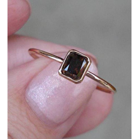 Rings $499.00 0.45 Carat Brown Diamond Bezel Set In 14K Rose Gold Minimalist Stacking Or Engagement Ring Bezel Brown Er Rg