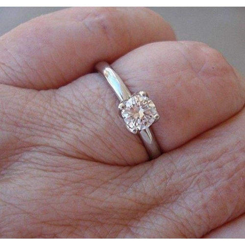 Image of Rings $999.99 0.55 Carat Transitional Old European Cut Diamond 4 Tulip Prong 14K Engagement Ring 14K Er Rg Solitaire Yg