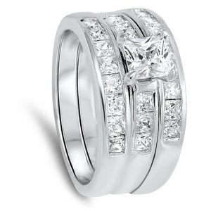 0.75 Carat 5mm Princess Cut 3 Ring Matching Engagement Ring Stack Sterling silver