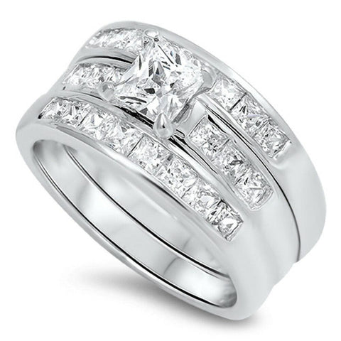 Rings $54.98 0.75 Carat 5mm Princess Cut 3 Ring Matching Engagement Ring Stack Sterling silver 0.50 Carat Bridal Sets cz er princess