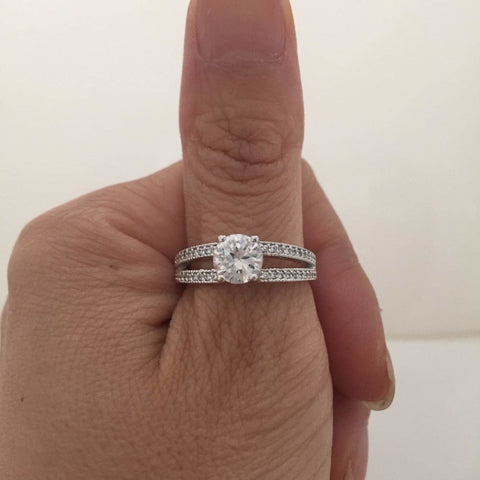 Image of Rings $68.00 1.25 Carat Solitaire With Milgrain Trip Double Shank Cubic Zirconia Engagement Ring (Silver) By Cz Sparkle Jewelry®