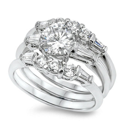 Rings $54.38 1.25 Carat Three Stone Matching 3 Ring Engagement Ring Set 1-carat Bridal Sets cz er feminine